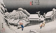 Illustration Prints - Night Snow Print by Hiroshige