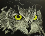 Scratchboard Paintings - Night Stalker by David Cates