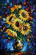 Yelllow Posters - Night Sunflowers Poster by Leonid Afremov