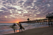 San Clemente Pier Prints - Night Surfing Print by Gary Zuercher
