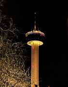 Tower Of The Americas Photos - Night Time at the Tower of the Americas by Sarah Broadmeadow-Thomas