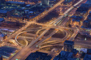Tom Biegalski Art - Night Time Cloverleaf Ramps by Tom Biegalski