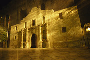 The Alamo Framed Prints - Night Time-exposed Zoom Gives Haunting Framed Print by Stephen St. John