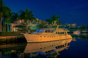 Fort Lauderdale Prints - Night time in Fort Lauderdale Print by James O Thompson