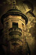 Creepy Mixed Media Metal Prints - Night Tower Metal Print by Svetlana Sewell