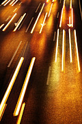 Luminous Acrylic Prints - Night Traffic Acrylic Print by Carlos Caetano