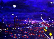 New Jersey Painting Originals - Night traffic in New Jersey by Vladimir Kozma