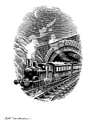 Linocut Prints - Night Train, Artwork Print by Bill Sanderson