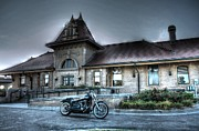 Train Depot Prints - Night Train Depot Print by Joseph Porey
