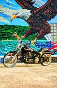 Harley Davidson Framed Prints - Night Train Eagle Framed Print by Joseph Porey