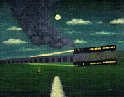 Art Marker Metal Prints - Night Train Metal Print by Gordon Beck