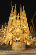 Temple Photo Posters - Night View Of Antoni Gaudis La Sagrada Poster by Richard Nowitz