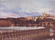 Prague Pastels Posters - Night View of Charles Bridge and Prague Castle Poster by Gordana Dokic Segedin