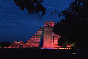 Ruins And Remains Prints - Night View Of El Castillo Print by Steve Winter
