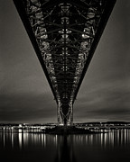 Illuminated Framed Prints - Night View Of Forth Road Bridge Framed Print by Mark Voce Photography