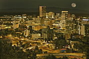 Night View Of Portland City Downtown Print by Tatiana Boyle