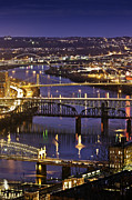Allegheny River Prints - Night View Of River And Bridges Print by Bob Stefko