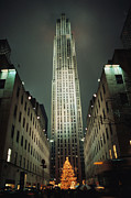 Religious Celebrations Prints - Night View Of Rockefeller Center Print by Todd Gipstein