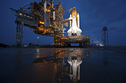 Rocket Boosters Posters - Night View Of Space Shuttle Atlantis Poster by Stocktrek Images