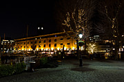 Old Inns  Framed Prints - Night View of St Katherines Dock London Framed Print by David Pyatt