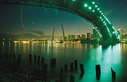 Scenic Views Posters - Night View Of St. Louis, Mo Poster by Michael S. Lewis