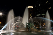 Center City Prints - Night View of Swann Fountain Print by Bill Cannon