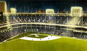 New York Stadiums Posters - Night View Of Yankee Stadium In The 1950s Poster by Dwight Goss