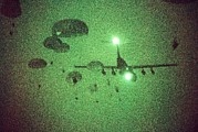 Combat Gear Prints - Night Vision Image Of Paratroopers Print by Everett