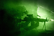 Ledge Photo Posters - Night Vision View Of A U.s. Army Ranger Poster by Tom Weber