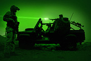 Firearms Metal Prints - Night Vision View Of U.s. Special Metal Print by Tom Weber