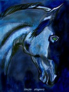 Horse Drawings Prints - Night Visions Print by Tarja Stegars