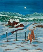 Winter Scene Painting Originals - Night Watch by Charlotte Blanchard