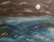 Sea Moon Full Moon Painting Originals - Night Waves by Patti Spires Hamilton