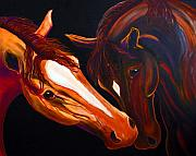 Abstract Horse Paintings - Night Whisper by Jennifer Morrison Godshalk