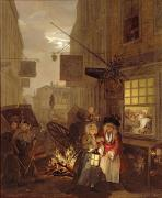 Street Lantern Framed Prints - Night Framed Print by William Hogarth