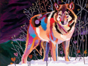 Imaginary Realism Painting Originals - Night Wolf by Bob Coonts