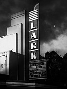 Old Theater Prints - Nightfall At The Lark - Larkspur California - 5D18482 - Black and White Print by Wingsdomain Art and Photography