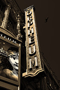 Old Theater Framed Prints - Nightfall at The Orpheum - San Francisco California - 5D17991 - Sepia Framed Print by Wingsdomain Art and Photography