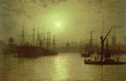 Moonlit Night Framed Prints - Nightfall Down the Thames Framed Print by John Atkinson Grimshaw