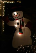 Snow Man Posters - Nightime Snowman Poster by Lori Seaman
