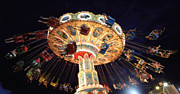 Amusements Photos - Nightime Swings by Mary Haber
