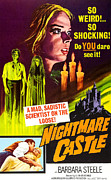 Italian Cinema Framed Prints - Nightmare Castle, Top Barbara Steele Framed Print by Everett