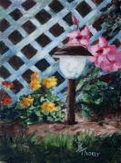 Night Lamp Painting Originals - Nights Garden by Brenda Thour