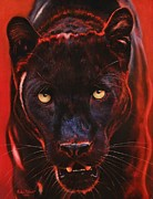 Jaguar Pastels Posters - Nightstalker  Black Panther version B Poster by John  Palmer
