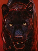 Black Pastels Framed Prints - Nightstalker  Black Panther version D Framed Print by John  Palmer