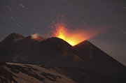 Volcanic Activity Framed Prints - Nighttime Strombolian Activity At Mount Framed Print by Richard Roscoe
