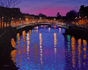 Impressionism Acrylic Prints Metal Prints - Nighttown Ha Penny Bridge Dublin Metal Print by John  Nolan