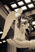 Nike Photo Prints - Nike Goddess of Victory Sepia Print by Linda Phelps