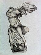 Nike Drawings - Nike of Samothrace by Shane Whitlock