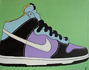 Acrylic. Green Prints - Nike Shoe Print by Grant  Swinney